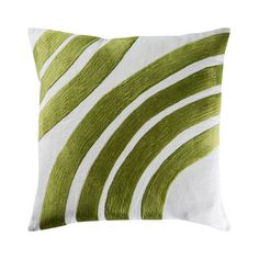 <p>Exclusively designed by The Conran Shop and new for Spring/Summer 2015, this vibrant cushion will add a splash of colour and pattern to your home.</p> <p>Rendered in fresh white 100% linen, the cushion is embellished with hand guided machine embroidery. The curved green design is inspired by a vintage kimono motif, and provides a striking accent to your bed, sofa or armchair.</p>