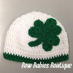 Crochet Shamrock St. Patrick's Day Beanie Hat - All Sizes on Etsy, $13.00
