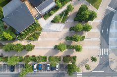 Eco-cœur de ville de Notre-Dame-de-Gravenchon - La Compagnie du Paysage Planting Plan, Aerial Photography, Photos Du, Dame, Sidewalk, Stairs, Landscape, Plants, Home Decor