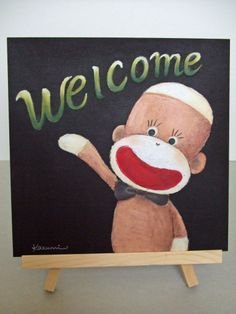 Sock Monkey Welcome Board