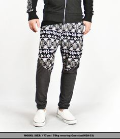 Bottoms :: ★SOLD-OUT★ Super-Low Crotch Contrast Sweatpants - 14 - New and Stylish - Fast Mens Fashion - Mens Clothing - Product