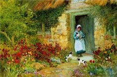 Playful Puppies by Arthur Claude Strachan Beautiful Farm, Beautiful Things, Charcoal Art, Summer Painting, Cottage Art, Paintings I Love, Illustrations, Figure Painting, Painting Art