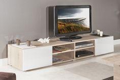 ATLANTIC. Meuble tv structure chêne Bardolino et portes laquées blanc brillant. grand modèle