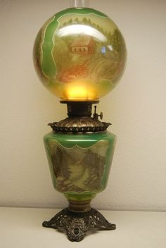 ANTIQUE OLD GREEN GLASS KEROSENE OIL GWTW BANQUET PARLOR VICTORIAN VINTAGE LAMP | eBay