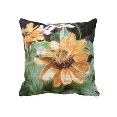 This elegant violet and oange zinnias plants pillow adds a romantic atmosphere to your living space.