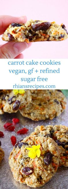 These Gluten-Free Vegan Carrot Cake Cookies are soft and chewy, fruity and fragrant, and healthy enough for breakfast! Makes a great snack or dessert. Refined sugar free.