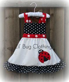 Custom Boutique Clothing  Ladybug Red and Black Dot Dress. $42.00, via Etsy.