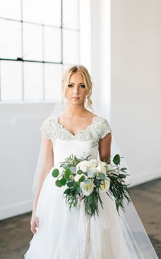 modest wedding dress with cap sleeves from alta moda -- (modest bridal gown) http://wedding-dress-tips.us