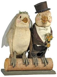 Bride & Groom Birds Automaton. German. Circa 1920s. Working. Fantastic detail and workmanship. When plugged in, both figures turn their heads and move their beaks..