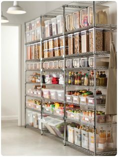 "here's the dream. This is the ultimate non-pantry storage I have ever seen. Perfect for a kitchen that has limited ""in closet/pantry"" storage space. For the Home,Kitchen,My House,organization,organize/cl Diy Kitchen Storage, Kitchen Pantry, Kitchen Organization, Open Pantry, Garage Storage, Storage Racks, Basement Storage, Food Storage Organization, Bakery Kitchen"