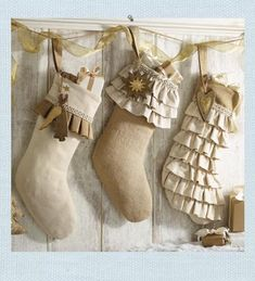 Burlap Stockings create a vintage inspired Christmas style. Christmas Fashion, Christmas Love, Country Christmas, Christmas Holidays, Christmas Crafts, Christmas Decorations, Christmas Swags, Coastal Christmas, Thanksgiving Holiday