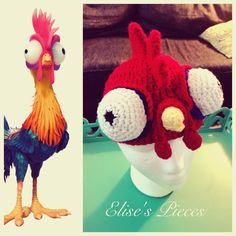 This hat had me smiling and laughing the whole time I was making it!  Hei Hei from Moana #hat #crochet #elisespieces #heihei #moana #disney #chicken #halloween #costume