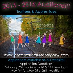 Auditions are open for the 2015 - 2016 Paradosi Ballet Company Trainees and Apprentices!!  Paradosi Ballet Company offers an intensive 2 year ballet Trainee program and we have several Apprentice openings for next season!  http://www.paradosiballetcompany.com/#/news-calendar/20152016-auditions  Visit our website to download an application today!