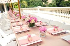 Simple and elegant setting for a bridal shower. Love it!