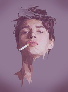 For this image, the low poly nature of it really draws me in.  Low poly images interest me greatly, as very organic subject matters become inherently digital.  This image in particular plays with texture, as the rigid polygons contrasts with the swirls of smoke of his hair.