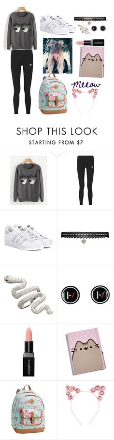 """What actually am I...? (my casual)"" by candy-without-name ❤ liked on Polyvore featuring adidas Originals, Betsey Johnson, Hot Topic, Smashbox, Gund and PBteen"
