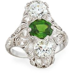 Nm Estate Estate Edwardian Demantoid Garnet Dinner Ring ($51,000) ❤ liked on Polyvore featuring jewelry, rings, green garnet jewelry, tsavorite garnet ring, filigree rings, demantoid garnet ring and band jewelry