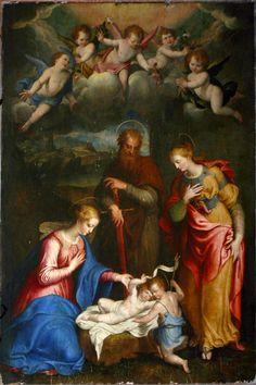 Atribuido a Bernardino Campi y Camillo Procaccini, Madonna y niño con los santos Pablo, Bárbara y Juan el Bautista, 1565