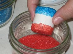 sugar dipped marshmallows  GREAT FOR THE   FOURTH OF JULY or a Captain America party