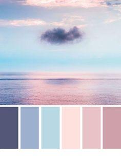 peinture salon tendance Blue and Mauve color palette inspired by sky color ,evening sky color palette Blue and Mauve color palette inspi Bedroom Colour Palette, Blue Colour Palette, Bedroom Color Schemes, Mauve Color, Pastel Colors, Colours, Color Blue, Good Bedroom Colors, Decorating Color Schemes
