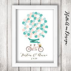 Wedding Guest Book  Balloons & Tandem Bicycle Guest por HelloAm, $39.90