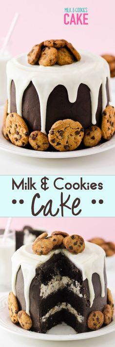 Milk & Cookies Cake -- how fun for a Milk & Cookies themed Birthday party?!?! LOVE LOVE LOVE. #birthdaycakes