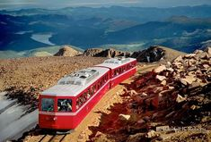 Cog Railway up to Pikes Peak - Manitou Springs, Colorado. I passed out up there from lack of oxygen. The Places Youll Go, Great Places, Places To See, Places To Travel, Beautiful Places, Pikes Peak, Castle Rock, Walking Tour, Empire State Building