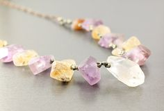 Raw stone jewelry: rough crystal, amethyst, citrine, pyrite, rough stone necklaces chakra necklace colorful purple