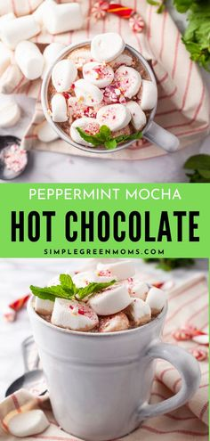 This homemade peppermint mocha hot chocolate is the perfect cozy drink to beat the wintertime blues! Plus, we've added 14 other amazing recipes for you to check out! Best Hot Chocolate Recipes, Refreshing Summer Drinks, Hot Cocoa Mixes, Flourless Chocolate Cakes, Peppermint Mocha, Incredible Recipes, Winter Food, Kitchen Recipes, Yummy Drinks