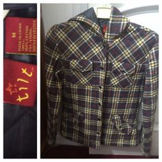 Flannel button-up Jacket! Size medium. Tilt brand from Pac Sun. Gray, red, white and yellow colored full button-up flannel jacket! Wish I still fit in this one! Great condition and has a hood. This item comes from a smoke free owner/home!  Tilt Jackets & Coats