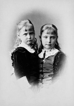 Princess Marie (known as May) of Hesse and by Rhine with her older sister Princess Alix, 1878.  May died of diphtheria at the age of four and was buried with her mother, who died a few weeks later of the same disease.