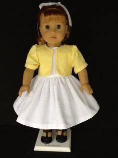 18 inch doll dress and jacket. Fits American Girl Dolls.  White dress with yellow jacket.