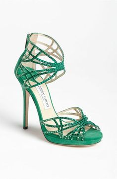 Jimmy Choo Green Crystalized 'Diva' Sandal #Shoes #Heels #JimmyChoo