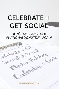 Tired of missing out sale and promotion opportunities? Tired of missing out fun social media holidays like National Donut Day? Don't miss out anymore! Grab my social media holiday calendar AND guide: Celebrate + Get Social. You'll also receive a 12 social media content idea guide and 5 promotion/sale idea guide. Go ahead and click through to get your copy — you'll love it!