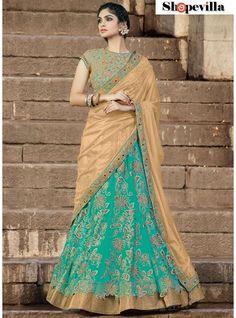Beige & Sea Green Colour Net Lehenga Choli-6912