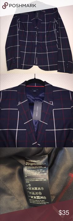 NEW Tommy Hilfiger Windowpane Blazer 6 Brand new Tommy Hilfiger windowpane plaid blazer. Navy blue with burgundy and white plaid. Bundle and save!!No trades or low ball offers please 💜 Tommy Hilfiger Jackets & Coats Blazers
