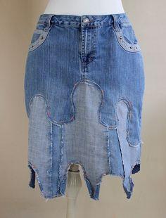 Curvy Aline denim skirt by MozingoAndTolk on Etsy, $89.00