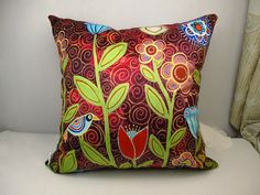 Velvet throw pillowcase cushion covers  optional sizes/ moonlit blooms /Abstract /original FOLK  ART design by Karla Gerard