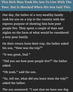 HILARIOUS RICH MAN TAKES SON TO LIVE WITH THE POOR. BUT IS SHOCKED WITH SON'S RESPONSE.