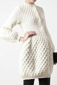 Textured honeycomb knit dress; contemporary knitwear details