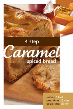 sweet caramels, tart apples and warmth of pumpkin spice and ground cinnamon, you might have just found the best caramel recipe ever. Just Desserts, Delicious Desserts, Yummy Food, Tasty, Baking Recipes, Cake Recipes, Dessert Recipes, Bread Recipes, Spice Bread
