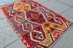 4x3 ft antique kilim rug, rug, Anatalion motives Decorative Rug for Home and Office Handmade Tribal Kilim Rug 4'11''x 3' / 150x95cm