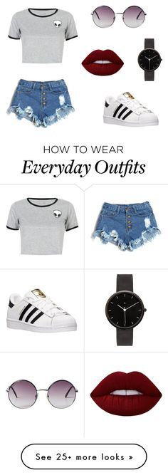 """""""This is a everyday outfit I would wear down the street!!"""" by mirandamillerr on Polyvore featuring WithChic, adidas, Monki, I Love Ugly and Lime Crime"""