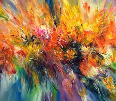 Yellow Cloud L 1 by the artist Peter Nottrott abstract Painting Size: 31.5 H x 61 W x 0.8 in