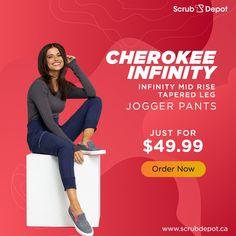 Infinity Mid Rise Tapered Leg Jogger Pants By Cherokee Mens Jogger Pants, Medical Scrubs, Scrub Pants, Sporty Look, Drawstring Pants, Stretch Pants, Hospitals, Straight Leg Pants, Cherokee