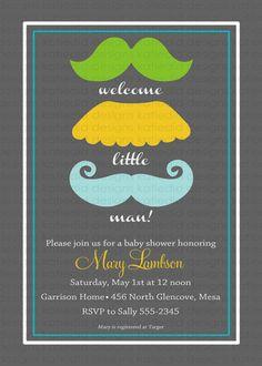 Baby boy shower invitation, mustaches, little man, digital, printable file (item 1263) baby shower invite