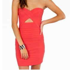 HOT Coral Cutout Bandage Party Dress!  Great quality cutout bandage dress, perfect for a party or girls night out. More of a lightweight material than most bandage dresses. Worn once. Tobi Dresses Strapless