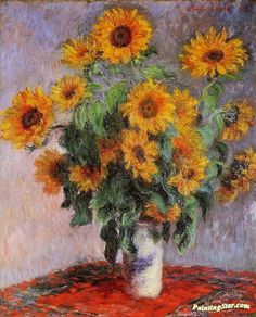 Bouquet of Sunflowers Artwork by Claude Oscar Monet Hand-painted and Art Prints on canvas for sale,you can custom the size and frame