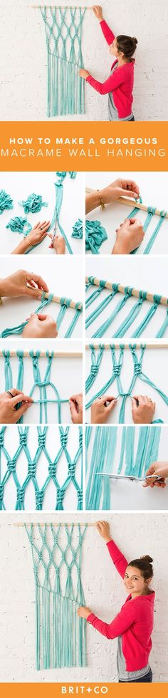 a Gorgeous Macrame Wall Hanging Upgrade your wall art game with a DIY macrame wall hanging.Upgrade your wall art game with a DIY macrame wall hanging. Macrame Projects, Craft Projects, Diy Macrame Wall Hanging, Hanging Art, Diy And Crafts, Arts And Crafts, Macrame Tutorial, Macrame Knots, How To Macrame