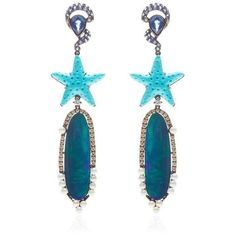 Wendy Yue Turquoise Starfish Opal Earrings ($16,865) ❤ liked on Polyvore featuring jewelry, earrings, star fish jewelry, blue turquoise jewelry, blue turquoise earrings, golden earring and opal earrings